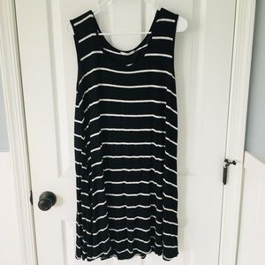 Black with white stripes swing dress